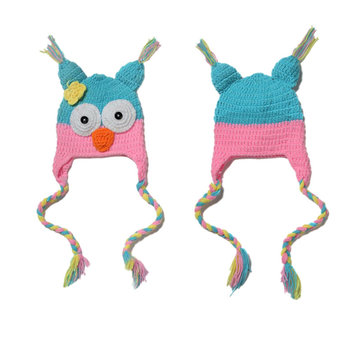 Kids Baby Boy Girl Toddler Cute Owls Knit Crochet Ear Flap Hat Beanie Caps