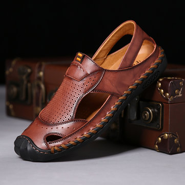 Menico Men Hand Stitching Soft Leather Sandalen