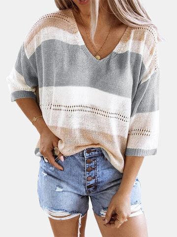 Контрастный цвет полый свитер