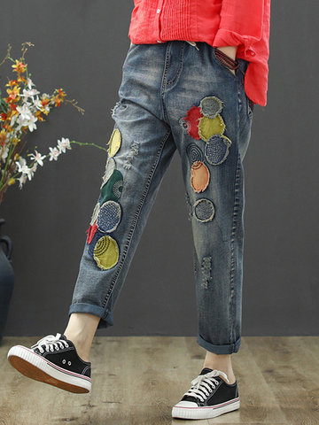 Retro Patch Distressed Jeans