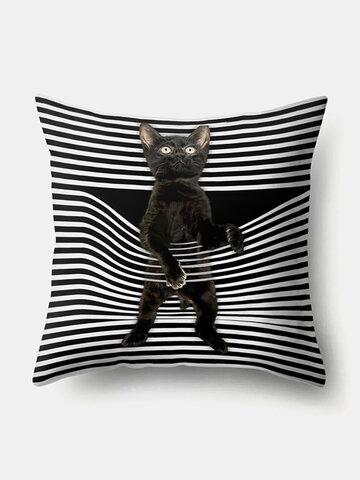 Classic Style Stripe Pattern Cat Linen Cushion Cover Home Sofa Art Decor Throw Pillowcase