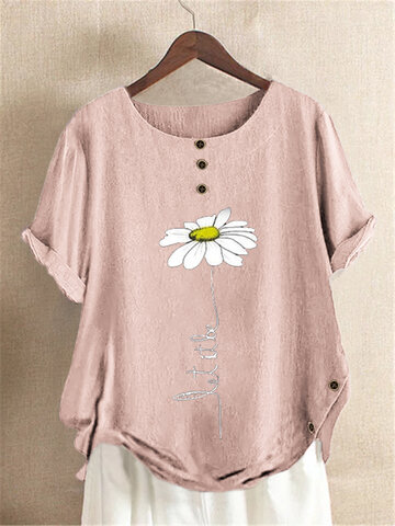 T-Shirt mit Blumendruck und Knöpfen