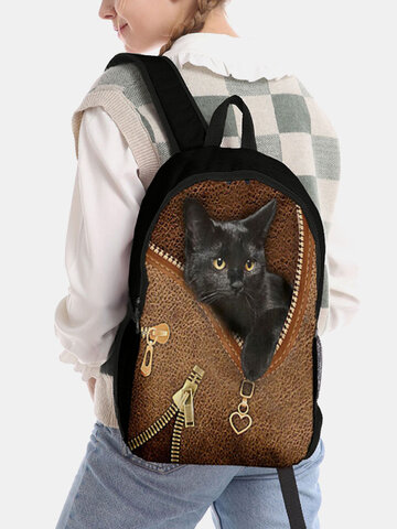 Large Capacity Cat Striped Pattern Printing Backpack