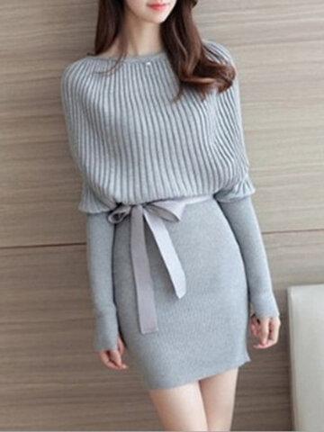 Knitted Long Sleeved Slash Neck Bodycon Dress, Grey black