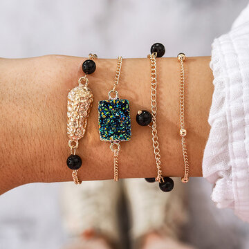 Irregular Gemstone Multi-layer Bracelet