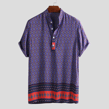 Mens Ethnic Printed Vintage  Henley Shirts