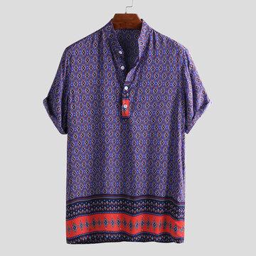 Chemises Henley Vintage Imprimées Ethniques Pour Hommes