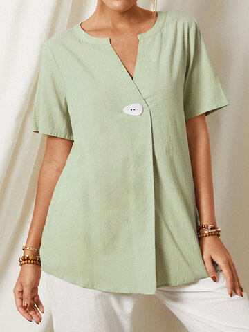 Solid Color V-neck Short Sleeve Casual Blouse For Women