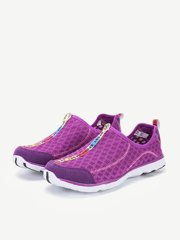 Large Size Quick Drying Breathable Mesh Slip On Outdoor Casual Shoes, Blue black gray purple