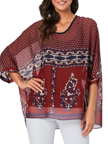 Bohemian Print Bat Sleeve Blouse