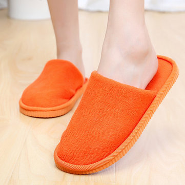 Orange Coral Velvet Soft Chaussons plats chauds