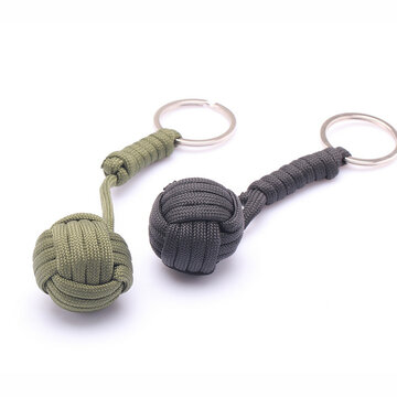 Security Protection Monkey Fist Steel Ball Bearing Self Defense Lanyard Survival Key Chain Blac