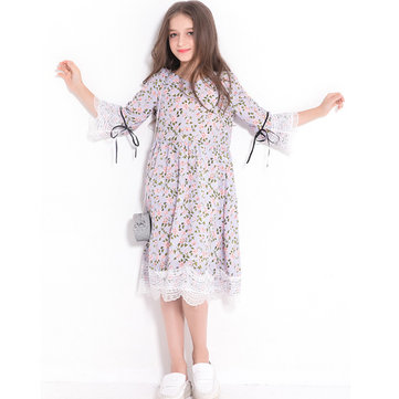 Floral Girls Flare Sleeve Dress For 6Y-15Y