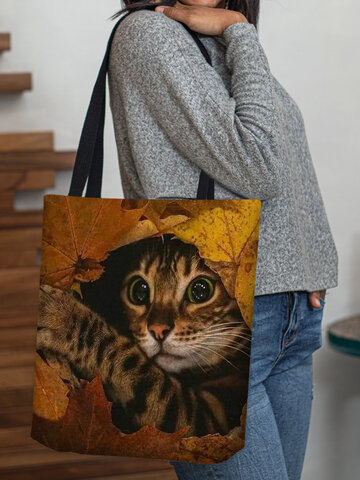 Cat Yellow Leaf Pattern Tote