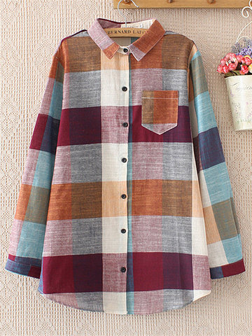 Casual Plaid Long Sleeve Lapel Shirt