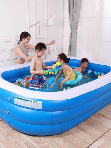 बच्चों का घर इन्फ्लेटेबल पूल स्विमिंग पूल बाथटब पूल ब्लू एंड व्हाइट स्क्वायर आउटडोर