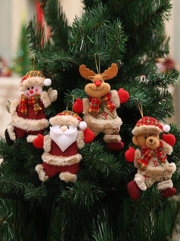 1 قطعة زينة شجرة الكريسماس عيد الميلاد دمى صغيرة ثلج الغزلان الدب النسيج الدمى الصغيرة قلادة معلقة هدية