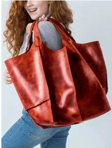 Women's Fashion Leather Oversize Brown Tote Bag