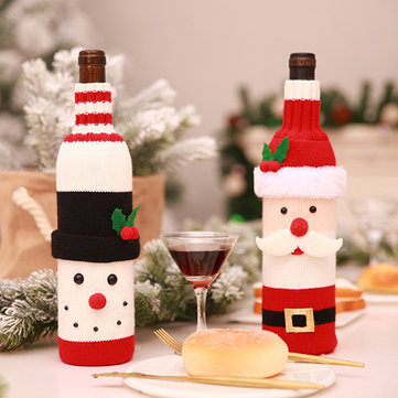 Christmas Santa Claus Knitting Red Wine Bottle Cover