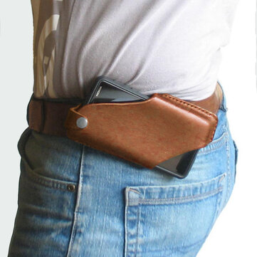 Men EDC Genuine Leather 6.5 Inch Phone Waist Bag