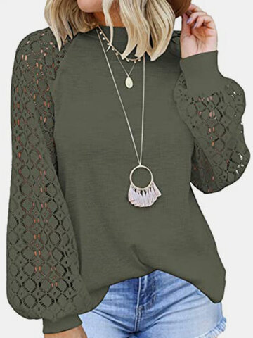 Lace Patchwork Solid Casual Blouse