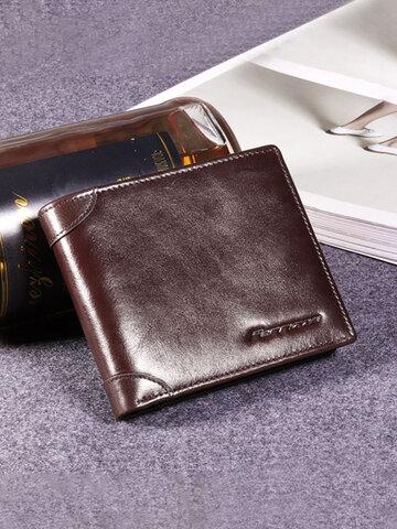 RFID Antimagnetic Genuine Leather Tri-fold Wallet For Men