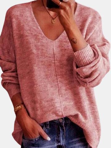 Повседневный вязаный однотонный свитер
