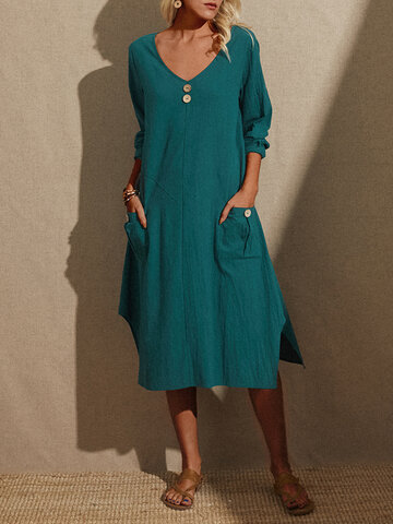 Solid Color V-neck Split Hem Dress