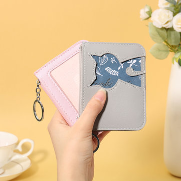 Women Cute Cat Pattern Card Holder Animal ID Wallets