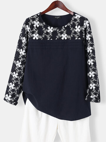 Flower Embroidered Hollow-out Cotton T-Shirt