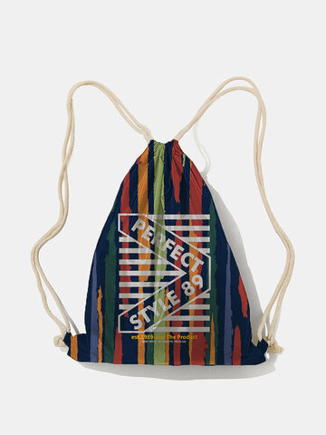 Nylon Colorful Striped Drawstring Backpack