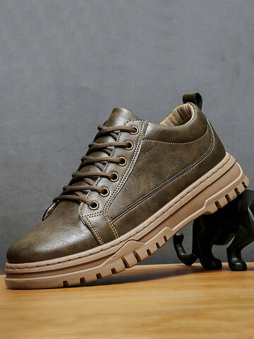 Men Microfiber Leather Work Style Shoes