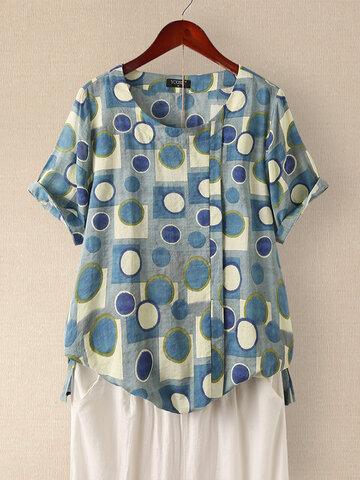 Polka Dot Print Short Sleeve O-neck T-shirt for Women