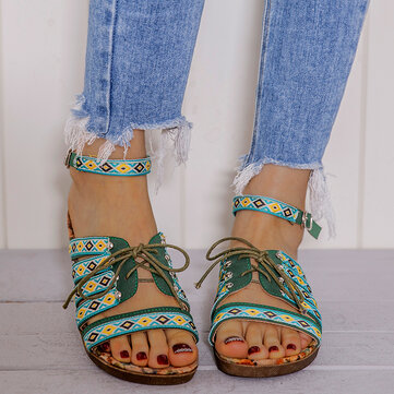 Women Embroidered Buckle Sandals
