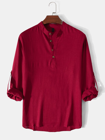 Solid Stand Collar Henley Shirts