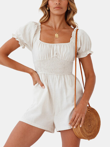 Solid Color Ruffle Sleeve Romper
