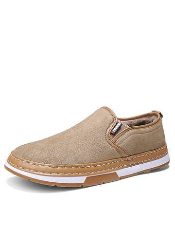 Men Suede Fabric Warm Cotton Loafers