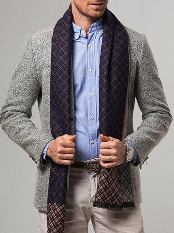 Men Cashmere Casual Plaid Pattern Keep Warm Scarf
