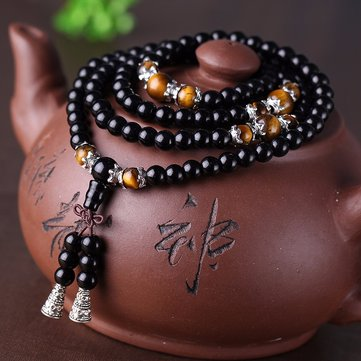 108 Buddhist Prayer Mala Bead Obsidian Bracelet