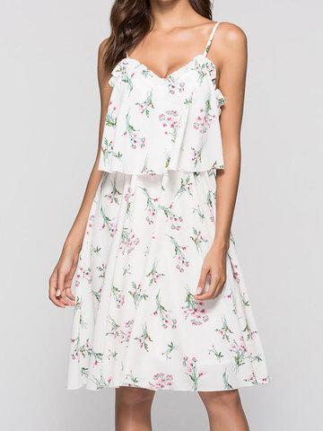 Rückenloser Riemen mit Blumenkirsche Kleid