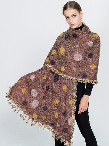 Women Dots Pattern Scarves Shawl Dual Use