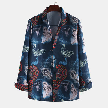 Mens Peacock Printed Long Sleeve Shirt