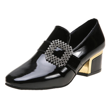 Solid Color Rhinestone Chunky Heel Loafers