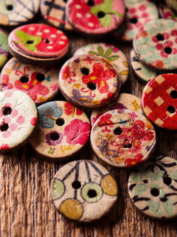 100 Pcs Retro Wooden Sewing Buttons