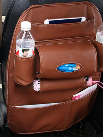 Leather Chair Back Storage Bag Multi-function Car Set Box Back Bag Outdoors Hanging Bag