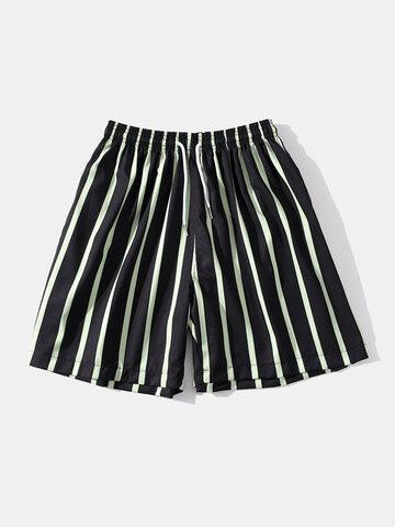 Green Striped Swim Shorts
