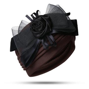 Mesh Flower Bow Muslim Headscarf Beanie Hat