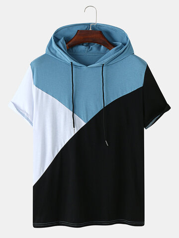 Tricolor Patchwork Hooded T-Shirt