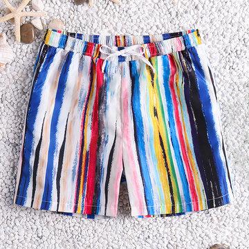 Short de planche à rayures multicolores