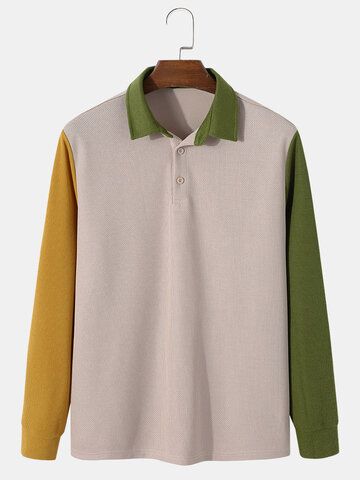 Knitted Patchwork Contrast Golf Shirts